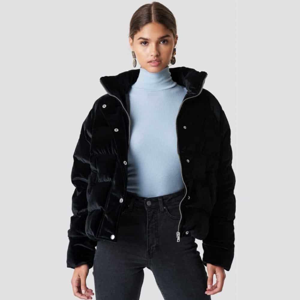 sametová dámská prošívaná bunda